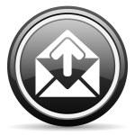 Mail black glossy icon on white background — Stock Photo #18220631