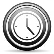 Stockfoto: Clock black glossy icon on white background