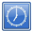 Clock blue glossy square web icon isolated — Stock Photo