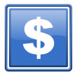 Us dollar blue glossy square web icon isolated — Stock Photo