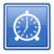 Photo: Alarm clock blue glossy square web icon isolated