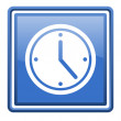 Clock blue glossy square web icon isolated — Foto de stock #18279365