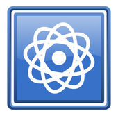 Atom blue glossy square web icon isolated — Stock Photo