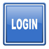 Login blue glossy square web icon isolated — Stock Photo