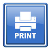 Print blue glossy square web icon isolated — Stock Photo