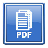 Pdf blue glossy square web icon isolated — Stock Photo