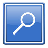 Search blue glossy square web icon isolated — Stock Photo