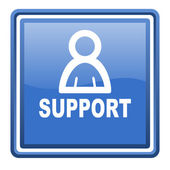 Support blue glossy square web icon isolated — Stock Photo