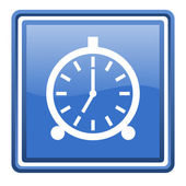 Alarm clock blue glossy square web icon isolated — ストック写真