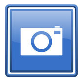 Camera blue glossy square web icon isolated — Stock Photo