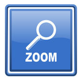 Zoom blue glossy square web icon isolated — Stock Photo