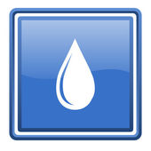Water drop blue glossy square web icon isolated — Stock Photo
