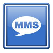 Icône bleue web carré glacé de mms isolé — Photo