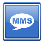 Mms blue glossy square web icon isolated — Stok fotoğraf