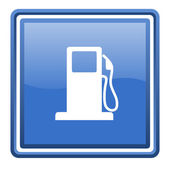Fuel blue glossy square web icon isolated — Stock Photo