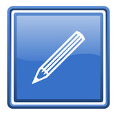 Pencil blue glossy square web icon isolated — Stock Photo