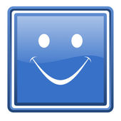 Smile blue glossy square web icon isolated — Stock Photo