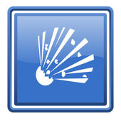 Bomb blue glossy square web icon isolated — Stock Photo