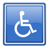 Accessibility blue glossy square web icon isolated — Stock Photo