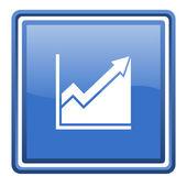 Histogram blue glossy square web icon isolated — Stock Photo