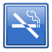 No smoking blue glossy square web icon isolated — Stock Photo
