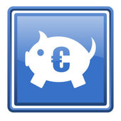 Piggy bank blue glossy square web icon isolated — Stock Photo