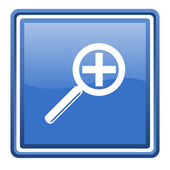 Magnification blue glossy square web icon isolated — Stock Photo