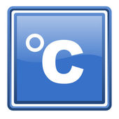 Celsius blue glossy square web icon isolated — Stock Photo