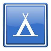 Camping blue glossy square web icon isolated — Stock Photo