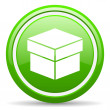 Box green glossy icon on white background — Stock Photo