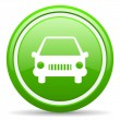 Car green glossy icon on white background — Stock Photo