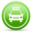 Stock Photo: Taxi green glossy icon on white background