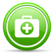 First aid kit green glossy icon on white background — Stock Photo
