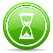 Time green glossy icon on white background — стоковое фото #18322723