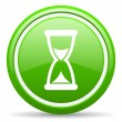 Time green glossy icon on white background — Stock Photo