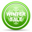 Winter sale green glossy icon on white background — Lizenzfreies Foto