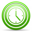 Clock green glossy icon on white background — Stock Photo #18322827