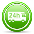 Delivery 24h green glossy icon on white background — Stock Photo