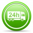 Delivery 24h green glossy icon on white background — Stock Photo #18322887