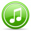 Music green glossy icon on white background — Stock Photo