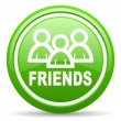 Friends green glossy icon on white background - Foto Stock