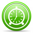 Foto de Stock  : Alarm clock green glossy icon on white background