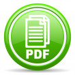 Pdf green glossy icon on white background — Stock Photo