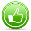 Thumb up green glossy icon on white background — 图库照片