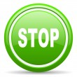 Stop green glossy icon on white background — Stock Photo #18323211
