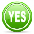Yes green glossy icon on white background - Stock Photo
