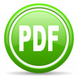 Pdf green glossy icon on white background - Stock Photo