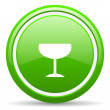 Glass green glossy icon on white background — 图库照片