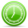 Stock fotografie: Clock green glossy icon on white background