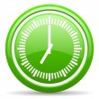 ストック写真: Clock green glossy icon on white background